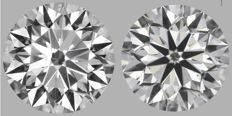 Pair of  Round Brilliant Diamonds 1.00ct total  D VS2  GIA Original image 10EX - Serial# 2054-2058