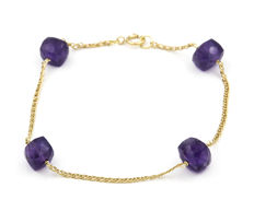 18 kt yellow gold bracelet with cut amethysts – Bracelet length: 18 cm