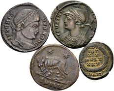 Roman Empire – Lot of four AE Follis from the time of Constantine the Great 307-337 A.D. and Constantius II 337-361 A.D.