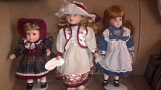 3 Ashton Drake Galleries Dolls
