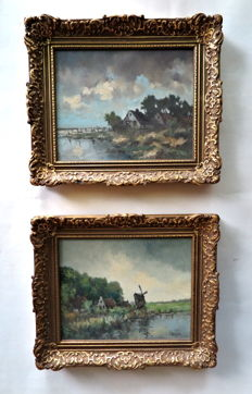 J. Rieter (20th century) - 2-lot Hollands polderlandschap met boerderij en molen