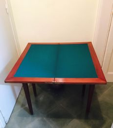 Victorian style. Solid mahogany playing table. Ca. 1900