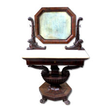 Outstanding Neapolitan Empire vanity table in solid mahogany wood, with white marble top