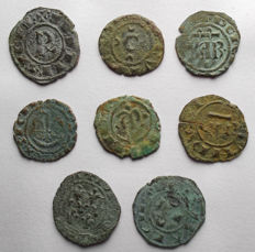 Italian Mints – Lot of 8 Swabian and Aragonese coins from the 12th Century.