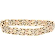 14 kt 3 and 2 row link bracelet with yellow, white, and rose gold links fitted with box clasp with safety clasp - 19.5 cm