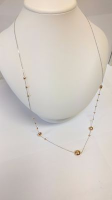 18 kt white and rose gold necklace - Length: 80 cm
