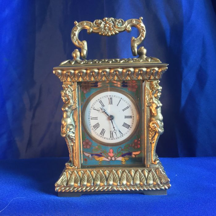 "French, bronze miniature ""CARRIAGE"" clock - late 20th century"