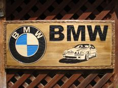 BMW Large unique handmade sculpting logo made from wood - 33 cm x 75 cm