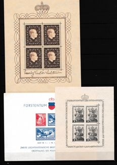 Liechtstenstein 1936/1946 – Lot of sheets – Yvert No.  2, 4 y 6