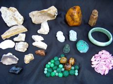 Collection of mineral stones - cut, polished and natural - 30 to 100 mm - 1270 gm