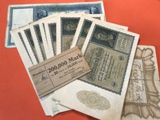 Bundle of 20 currency notes of 10 000 Mark Berlin 1922 + 2 notes of 50 and 100 Reich banknote of 1910 and 1918
