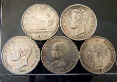 Spain – 5 pesetas, 1870 to 1898 – Provisonal  Government, Amadeo I, Alfonso XII and Alfonso XIII - 5 coins – All different – silver