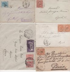Kingdom of Italy 1869/94 – Lot of 5 stamped envelopes with stamps from the Kingdom
