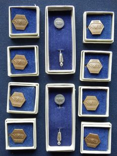 "Collection of 10 rare N.O.B. pins Road transport. Among others ""Lid van verdienste"""