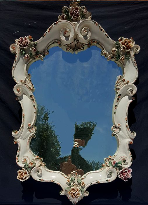 Polychrome ceramic wall mirror, Nove (Vicenza), Italy, first quarter of the 20th century