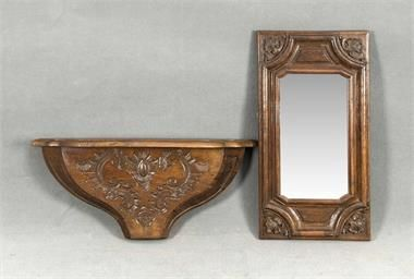 Antique oak mirror with wall console, first half of 20th century