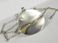 Vintage silver pendant on necklace collier