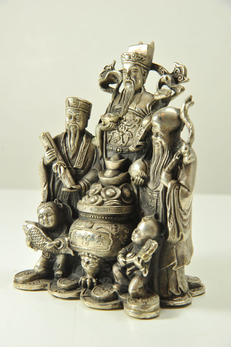 Fu-Lu-Shou statue, white metal - China - late 20th Century