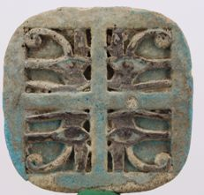 Ancient Egyptian Quadruple Faience Wedjat Eye, ca. 3,5 cm  c. 1,38 inches