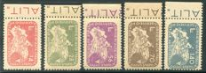 Italy Lieutenancy, 1945, Coralit Ciclista series, 5 values