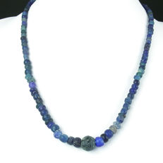 Necklace with Roman blue glass beads - 48 cm