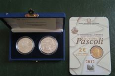 Italy – Diptych 5 + 10 Euro 'Europa dei Popoli' (Europe of the Peoples) 2003 + 2 Euro 2012 'Giovanni Pascoli', 3 coins
