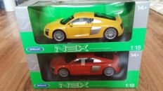 Welly-Nex - Scale 1/18 - lot with 2 x Audi R8 V10 2016 - Yellow / Red