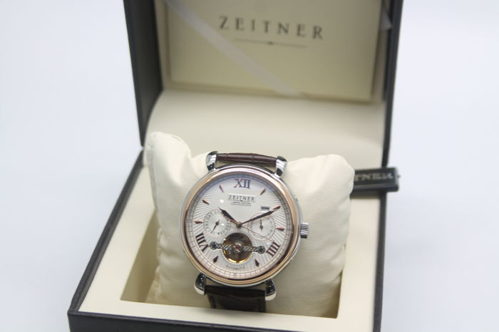 Zeitner - Mens - Auto Datum Wit Rose Watch - 2017