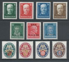 German Reich 1926/1927 – Three series – Michel 398/401, 403/406, 407/409