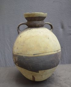 Pre-Columbian, large pot with two ears, beautifully painted - 31.4 cm
