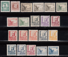 Spain 1937/1940 – Digits, Cid and Isabel, complete series 21 values – Edifil 814/831, 816A, 816B, 823A.