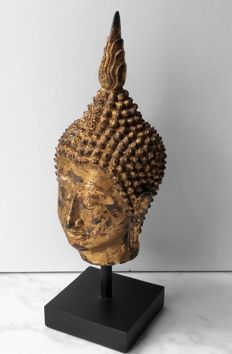 Bronze Buddha head gold-plated with gold foil - Thailand - 2nd half 20th century