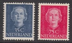 The Netherlands 1949 – Juliana type 'En Face' with plate errors – Mast 527 PM + NVPH 533 P