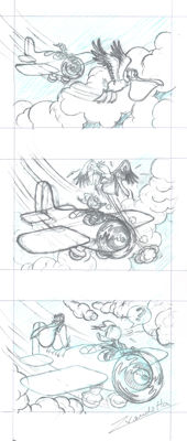 "Vendetta, Z. - Original Pencil Triptych - Donald Duck ""The Pilot"""