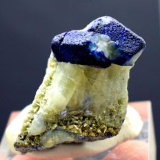 Rare Deep Blue Afghanite Twin Crystals with Calcite and Golden Pyrite on Matrix - 42 x 25 x 34 mm - 52gm