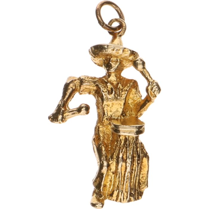 14 kt yellow gold pendant in the shape of a Mexican drummer – length: 3 cm