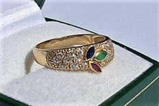 14kt ring whit zirconia and 3 different colour topaz - size 17,75mm