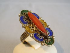 Antique handmade ring with large genuine coral navette and multicoloured enamel
