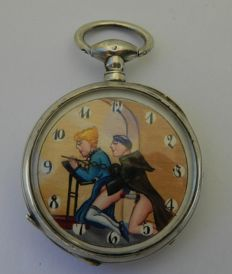 "Pocket Watch with sex scène in the chapel: a monk and ""a young female believer""  - ca. 1910"