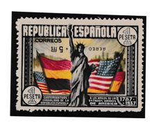 Spain 1938 – Anniversary of the United States Constitution. Air mail + 5 inverted. CEM certificate – Edifil No. 765hi