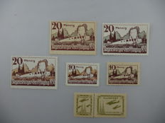 German Empire/Reich beginning 1925 - Half-official air postal stamps, Regensburg Easter flight days, Michel 15, 16, 18 and 19