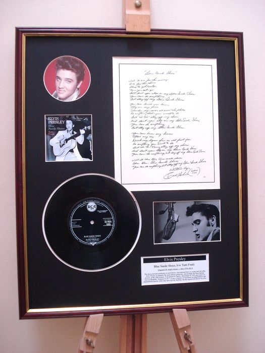 "Elvis Presley Blue Suede Shoes 7"" record + original handwritten printed lyrics display"