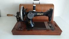 Pfaff type 11 sewing machine decorated with golden engravings and original wooden cover / key - Kaiserslautern, Germany - first half of the 20th century