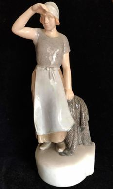 A very fine BING & GRONDAHL vintage figure of a fisherman's wife watching the horizon