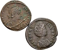 Roman Empire – lot of two AE2 of Theodosius I, AD 379-395, and his wife, empress Aelia Flaccilla, died. AD 386