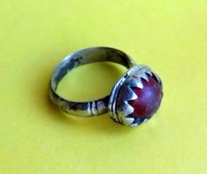 Late Medieval Solid Silver Ring with Red Stone Inserted in Bezel - 18 mm