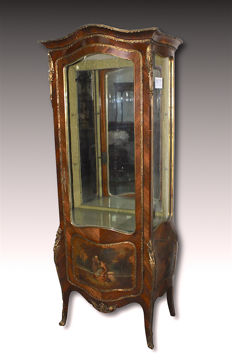 Napoleon III painted glass cabinet from France - second half of 19th century.