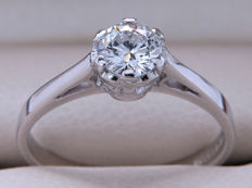 Certified gold solitaire ring with brilliant of 0.275 ct - VS2 - E colour. ** No Reserve **