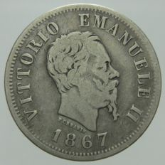 Kingdom of Italy – 50 Cents 1867, Turin, Vittorio Emanuele II – silver