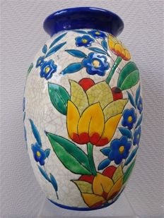 Charles Catteau for Boch - Ceramics vase with enamelled floral decor